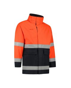 Dapro Access Multinorm Raincoat: Flame-Retardant, Anti-Static, Hi-Vis and Chemical Resistant – Navy Blue/Orange