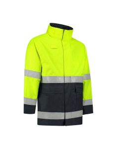 Dapro Access Multinorm Raincoat: Flame-Retardant, Anti-Static, Hi-Vis and Chemical Resistant – Navy Blue/Yellow