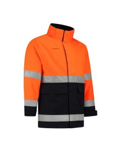 Dapro Blaze Multinorm Raincoat - Navy Blue/Hi-Vis Orange - Flame-Retardant, Anti-Static, Welding, Arc Flash Protection and Chemical Resistant