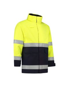 Dapro Blaze Multinorm Raincoat - Navy Blue/Hi-Vis Yellow - Flame-Retardant, Anti-Static, Welding, Arc Flash Protection and Chemical Resistant