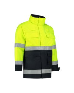 Dapro Infinity Multinorm Raincoat: Flame-Retardant, Anti-Static, Hi-Vis and Chemical Resistant - Navy Blue/Yellow