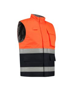 Dapro Protector Multinorm Waterproof Bodywarmer: Flame-Retardant, Anti-Static, Hi-Vis and Chemical Resistant - Navy Blue/Orange
