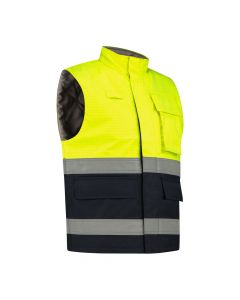 Dapro Protector Multinorm Waterproof Bodywarmer: Flame-Retardant, Anti-Static, Hi-Vis and Chemical Resistant  – Navy Blue/Yellow