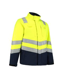 Dapro Spectre Multinorm Raincoat: Flame-Retardant, Anti-Static, Hi-Vis and Chemical Resistant - Navy Blue/Yellow